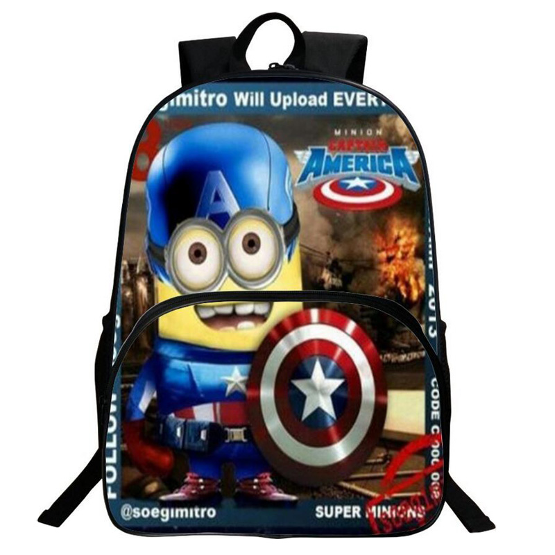 New Nylon Cute Cartoon Men Backpack Minions Cosplay Super Hero Nylon Backpack Mochila Schoolbag Children High Quality School Bag delune new european children school bag for girls boys backpack cartoon mochila infantil large capacity orthopedic schoolbag