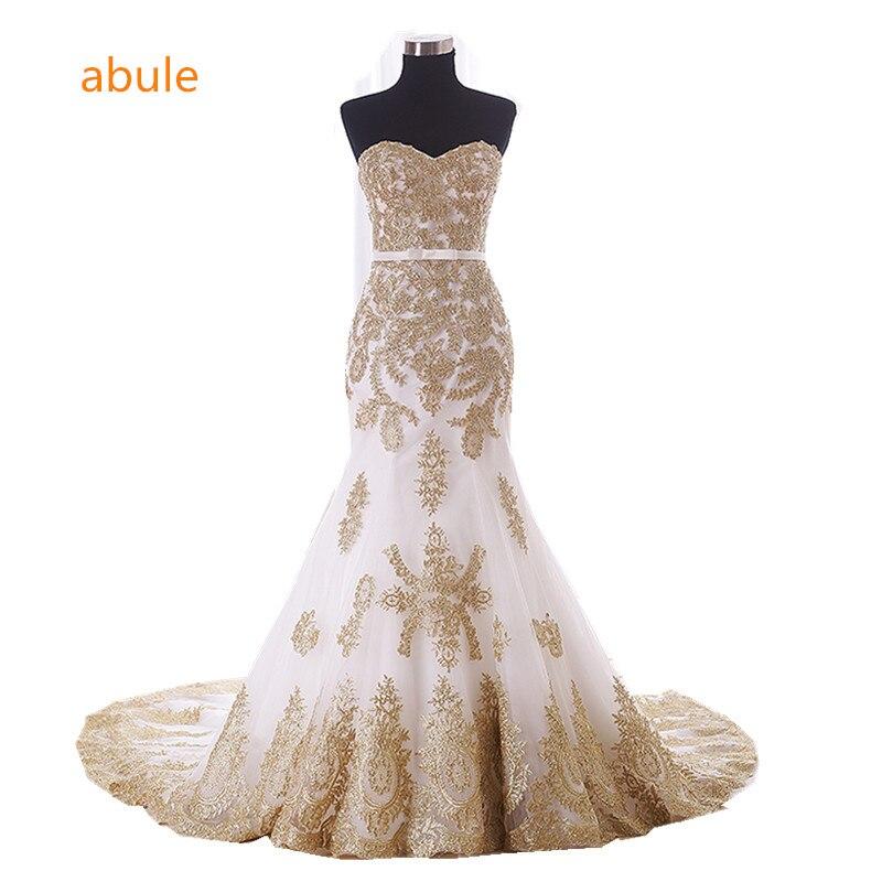 abule 2018 Wedding Dress summer customer real poto White Beading Gold Lace Up Custom Made Bridal Gown Vestido De Noiva