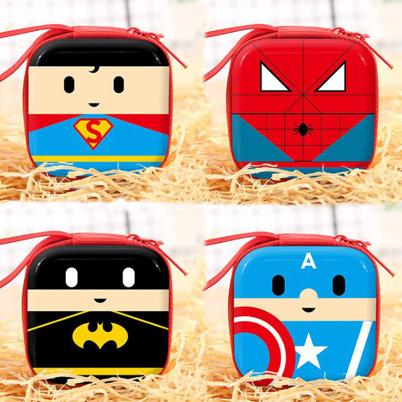 1 Pcs Portable Superhero Spiderman Captain American Coin Purse Earphone Storage Bag Cable Organizer Stationery Card Holders