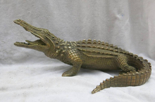 wholesale factory 11 China brass copper carved fierce Chinese alligator Sculpture Statue