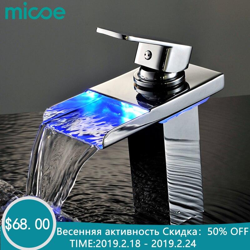 Micoe robinet à led bassin de salle de bain Robinet mitigeur en laiton Robinet Cascade Robinets Pont Monté Chaud Froid Grue robinet pour évier