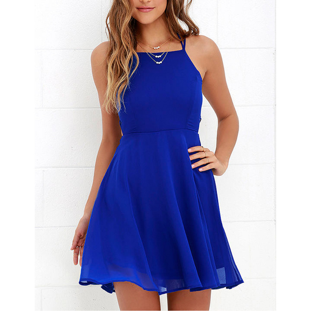 Sexy Club Royal Blue Lace Up Backless Spaghetti Strap Skater Dress A Line Purple Party Vestido 2018 Summer Dresses for Dancing
