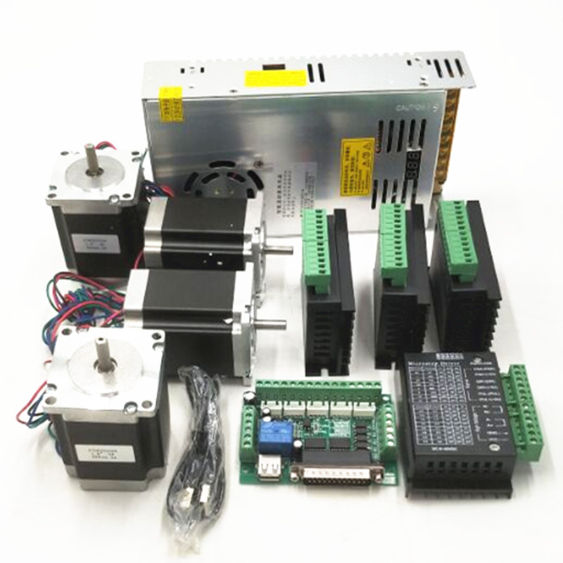 CNC Router Kit TB6600 4.0A stepper motor driver + 4 axis Nema23 270 OZ.IN + 5 axis interface board+ power supply 360w 24V 15A