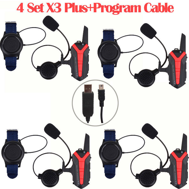 4 x Bluetooth Helmet Headset Motorcycle Intercom interphone +PTT+Program Cable Group Walkie Talkie Waterproof mikado hammer 2 13 г 5 5 см серебро page 9