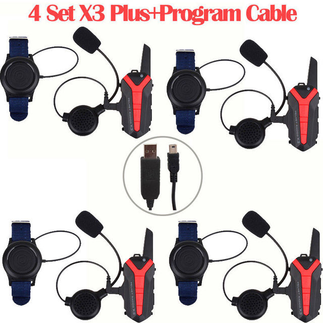Free shipping!4xBluetooth Helmet Headset Motorcycle Intercom Walkie Talkie+PTT+Program Cable