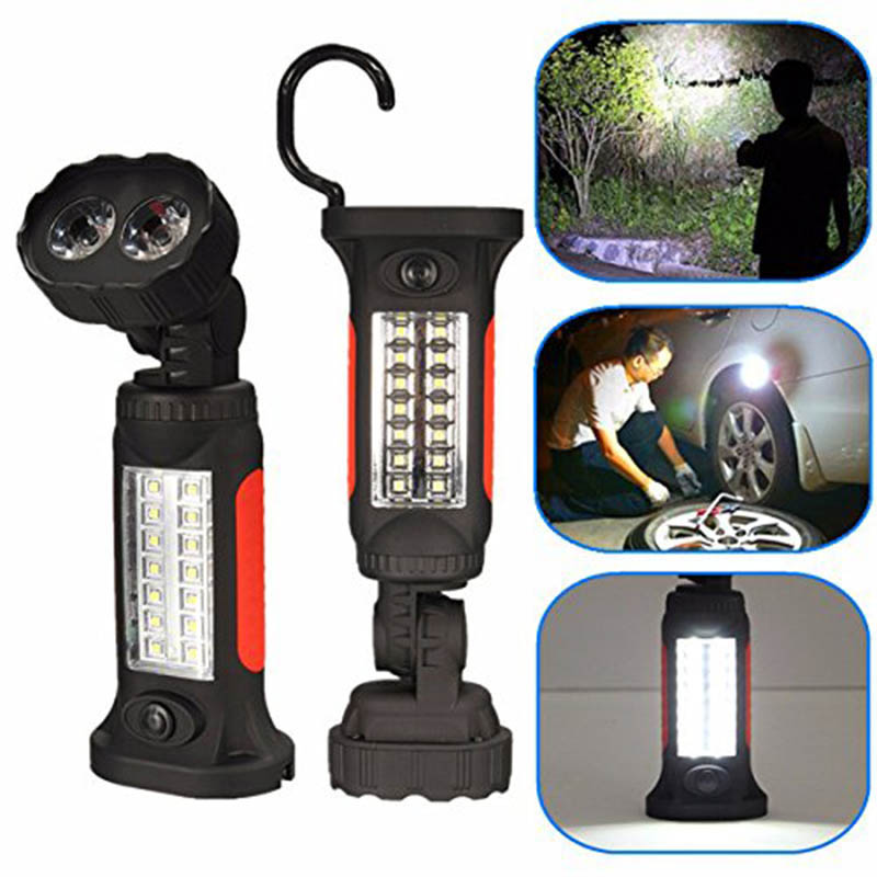 16 LED Flashlight Bright 360 Rotation Hand Torch Tent Hook Camping Hanging Work Lanterna Light Lamp Flashlights AAA battery stand magnetic back flashlights torches with hook led worklight and lighting flashlight combo hand free tactical torch lanterna