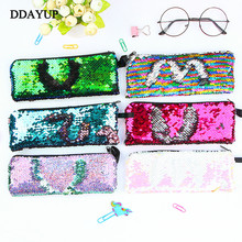 Colorful Reversible Sequin Pencil Case School Supplies Bts Stationery Gift Cute Pencil Box Pencilcase School Tools Pencil Cases new gold pencil case reversible sequin school supplies bts stationery gift cute pencil box pencilcase school tools pencil cases