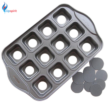 New Carbon Steel Nonstick Baking Pans 12-Cup Muffin Pans Square Cupcake Baking Cups Bakeware Molds Cake Cookie Baking Tray(China (Mainland))
