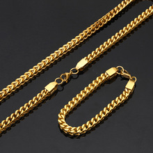 USENSET Gold Necklace 8MM Big Men Chain Biker Punk Curb  Stainless Steel Mens Jewelry ,24inches