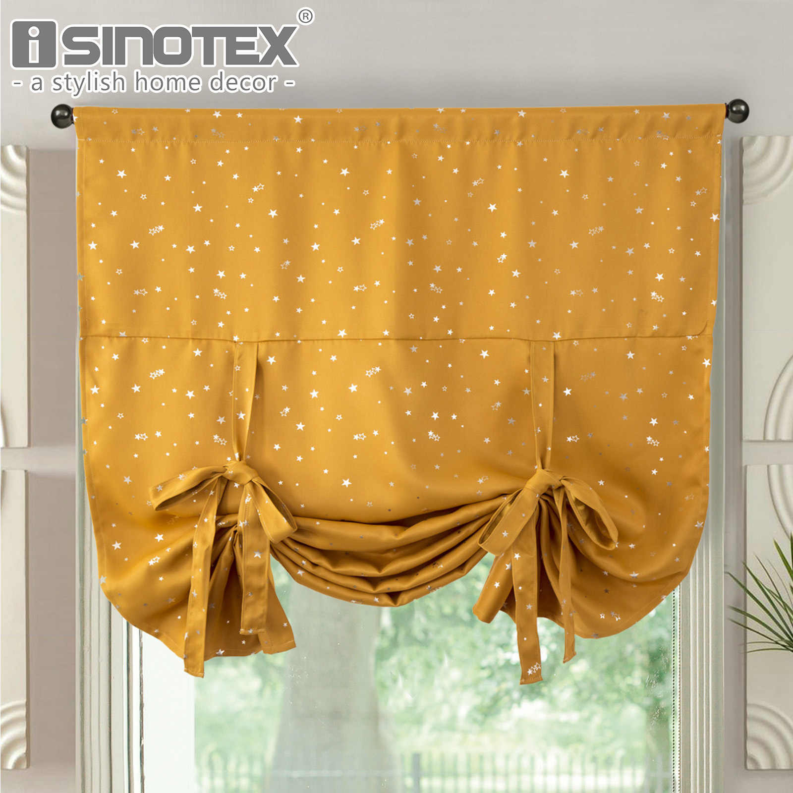 Blackout Roman Curtain Brown Tie Up Shade Silver Star 45*63'' Window Valance Thermal Insulated Rod Pocket Panel Balloon Blind