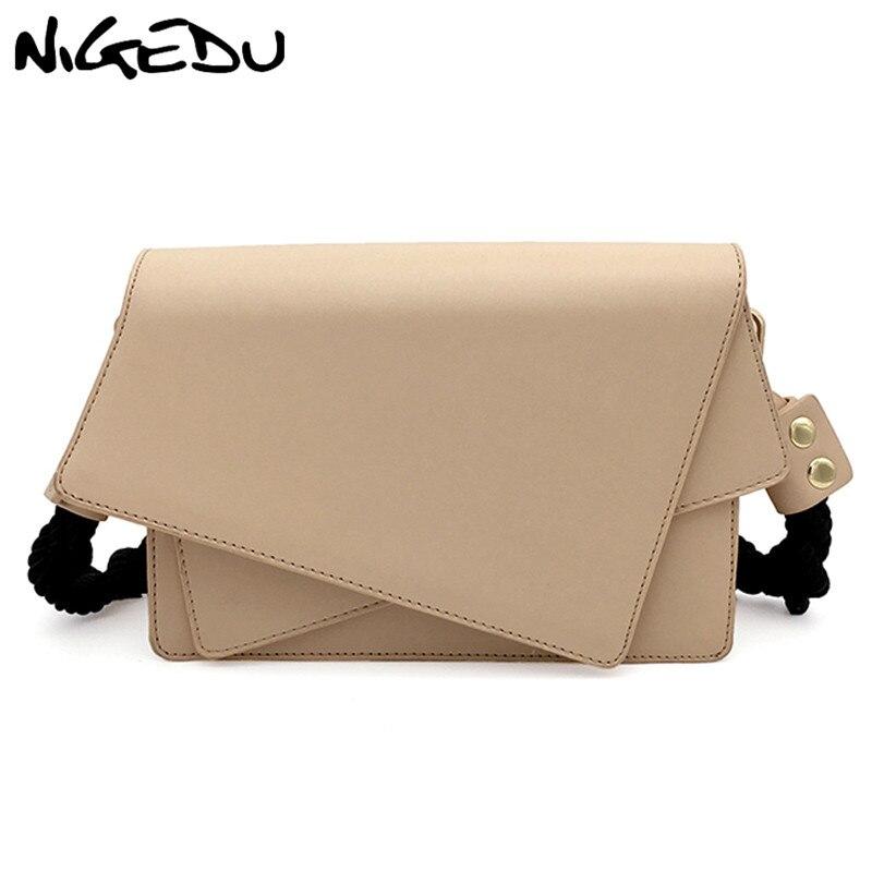 NIGEDU Kpop Irregular Women Shoulder Bag Pu Leather Handbags Ladies Designer Messenger Bag Woven Shoulder Straps Totes baobao
