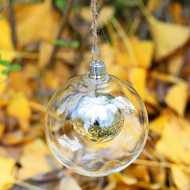 Novelty Dia8cm double Glass balls with balls IN Wedding bauble decoration Christmas ornament pendant supplier party event balls