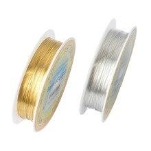 Медных рулон бисероплетение проводов позолоченный бусы веревка ремесло шнур серебряный сплава