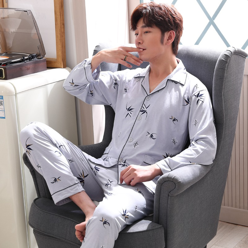 100% Baumwolle Pyjama Sets Für Männer 2019 Frühling Langarm Pyjama Weiche Komfortable Nachtwäsche Druck Homewear Loungewear Hause Kleidung