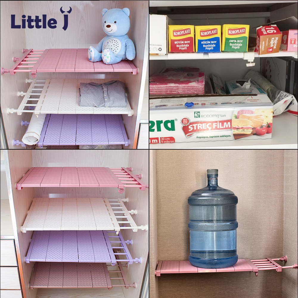 Kitchen Wardrobe Accessories: Adjustable Kitchen Organizer Plastic Dish Rack Closet