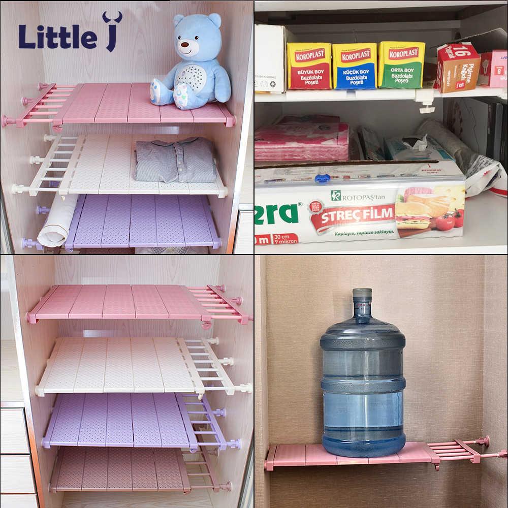 Adjule Kitchen Organizer Plastic Dish Rack Closet Storage Shelves E Saving Wardrobe Shelf Accessories