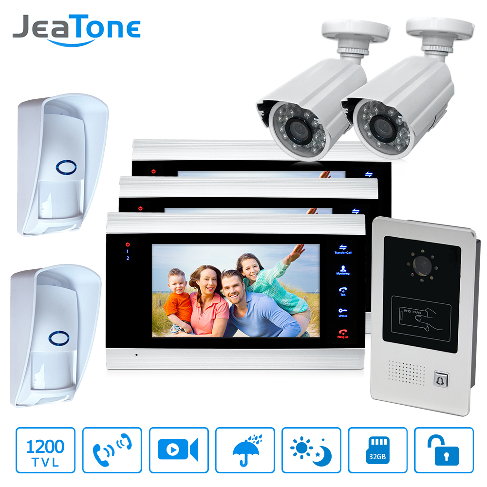 7Video Door Phone Doorbell Video Intercom System Security Access Control Wide View Angle Call Panel RFID Card +2 Cameras+2 PIR7Video Door Phone Doorbell Video Intercom System Security Access Control Wide View Angle Call Panel RFID Card +2 Cameras+2 PIR
