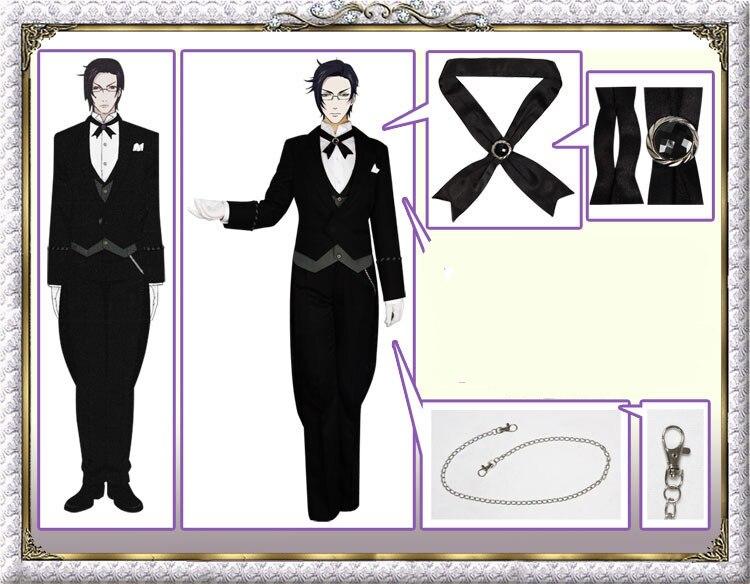 Anime Black Butler Kuroshitsuji Faustus Claude Cosplay Costume Custom made Cos