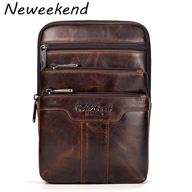NEWEEKEND Men's Genuine Max Oil Leather Business Bag Thin Slight Simple Shoulder iPad Bags Messenger Male for Men LZ-S024