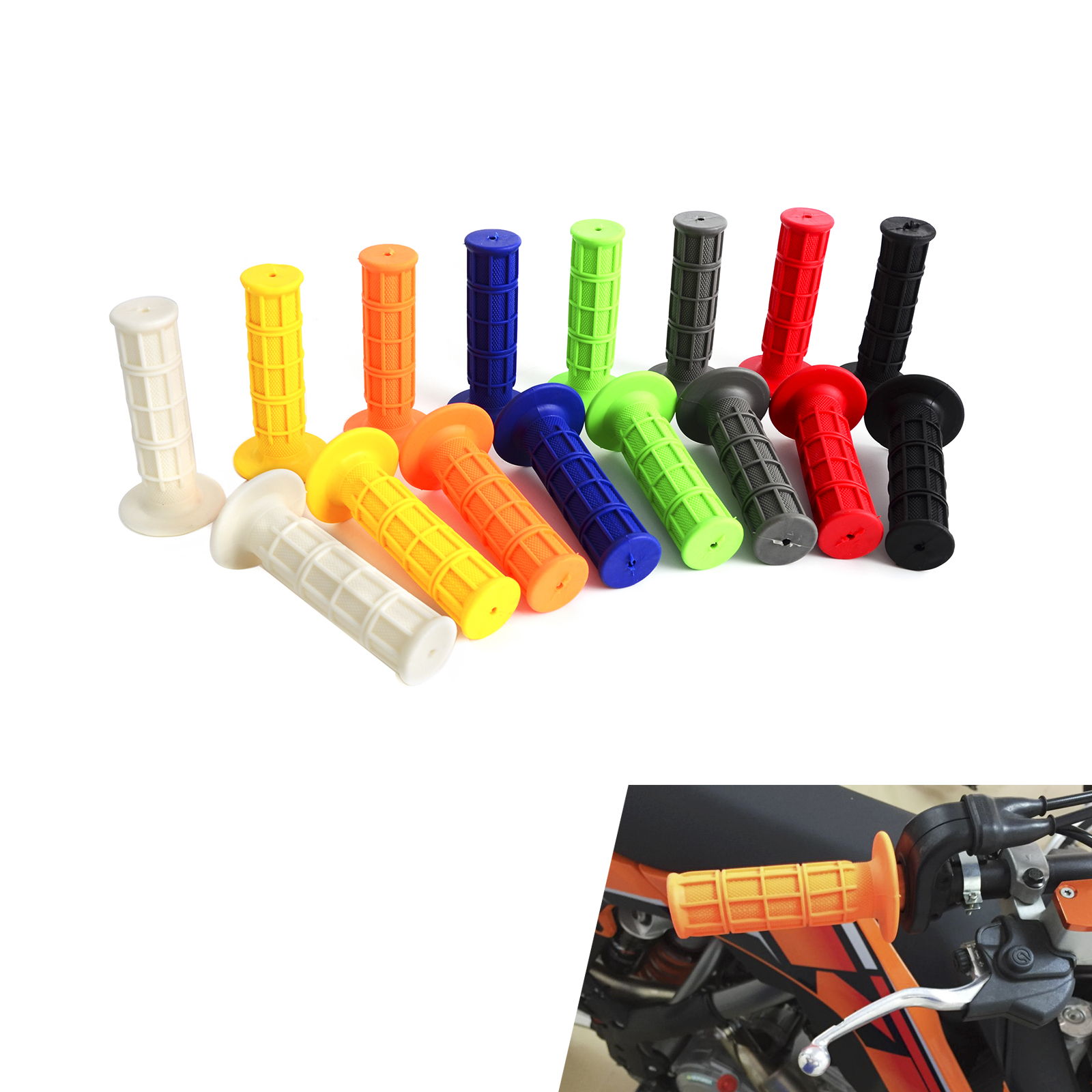 Universal Soft Rubber 22mm 7/8 Hand Grips For MX Pit Dirt Bike Motorcycle