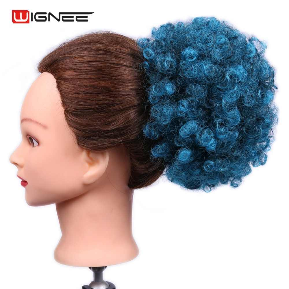Wignee Short Hair Puff Afro Kinky Curly Chignon Hair Extension For Women Heat Resistant Synthetic Natural Black Blue Purple Hair Synthetic Chignon Aliexpress