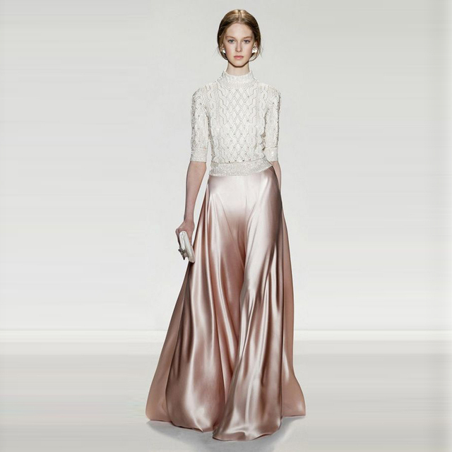 Grace Bright Satin Skirts Women Customized A Line Floor Length Long Maxi  Skirt Soft Material Formal Skirt For Evening Party 28eefdec27ec