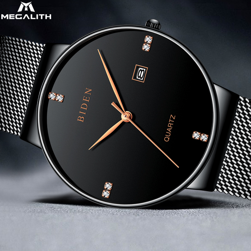 MEGALITH New Fashion Watches Men Analog Quartz Wristwatches Waterproof Chronograph Sport Date Mesh Band Watches Montre Homme