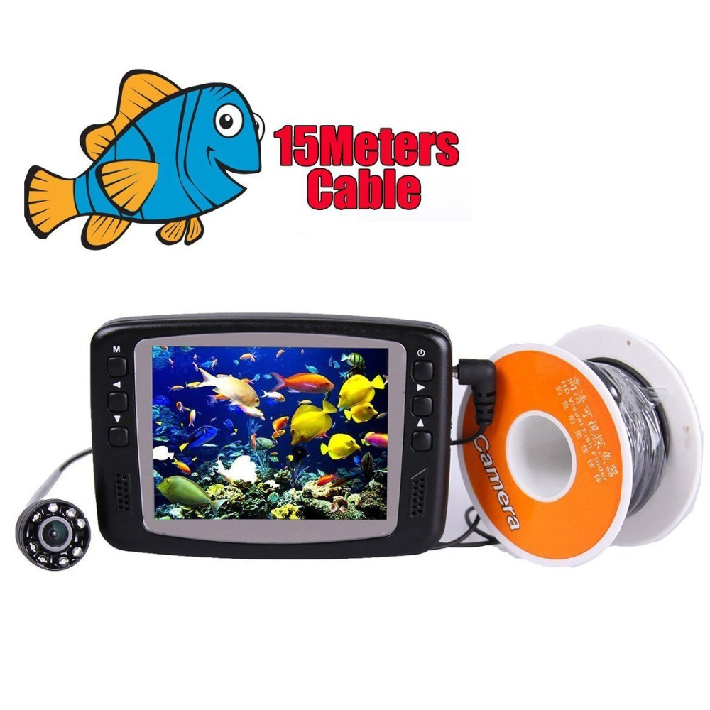 Underwater Video Fishing Camera 3.5 inch LCD Monitor 8 LED Night Vision Camera 15m Cable