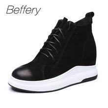 731521cb9 Beffery Осень-Зима Женская обувь модные кроссовки на танкетке с высоким  берцем на шнуровке женская обувь из натуральной кожи на .