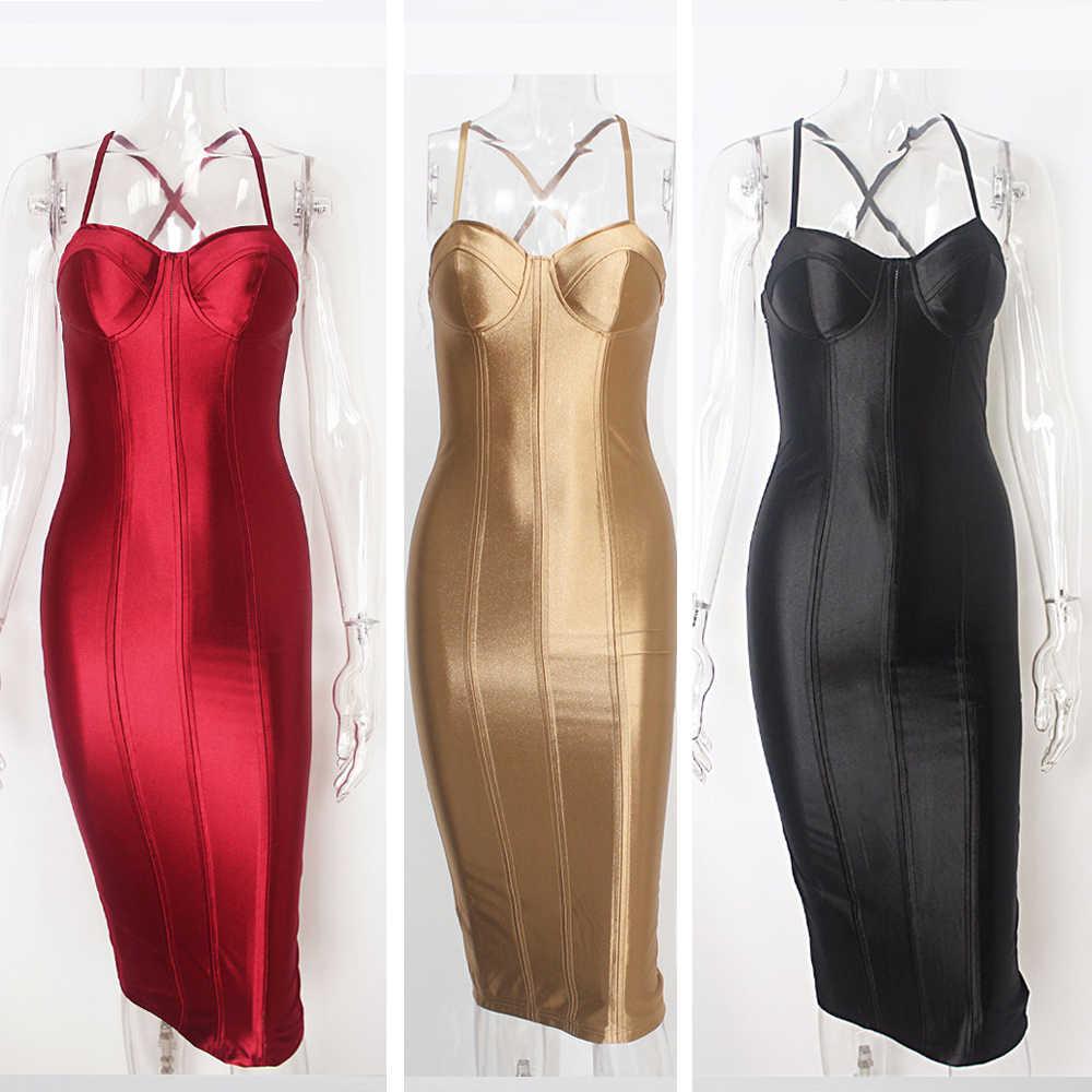 39c0b270a4f3 ... Sexy Party Midi Dress Bodycon Satin Shiny Party V Neck Sleeveless Split  Back Cross Straps Gold ...