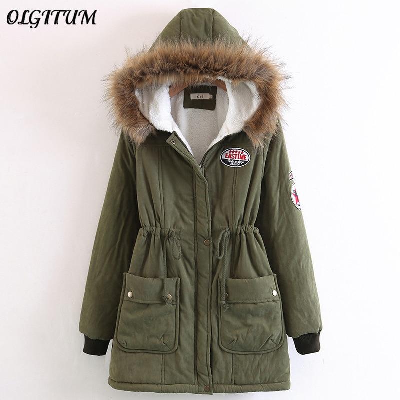 S 3XL, новинка 2019, зимнее пальто с меховым воротником, верхняя одежда с капюшоном, женская утепленная хлопковая куртка, женское повседневное приталенное пальто, парки с карманами