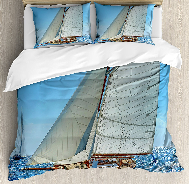 Ensemble housse de couette nautique voilier sur la mer régate course Yacht et temps venteux thème compétition, ensemble de literie 4 pièces