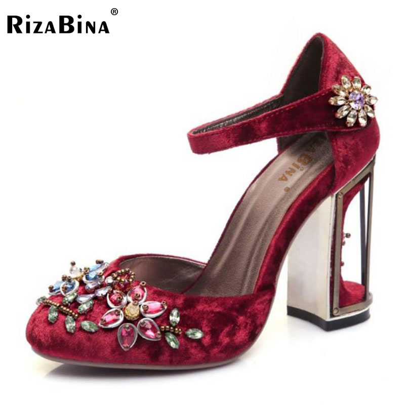 RizaBina Size 33-43 Women High Heels Sandals Ladies Crystal Flower Thick High Heel Shoes Women'S Party Daily Shoes Footwear luxury brand crystal patent leather sandals women high heels thick heel women shoes with heels wedding shoes ladies silver pumps