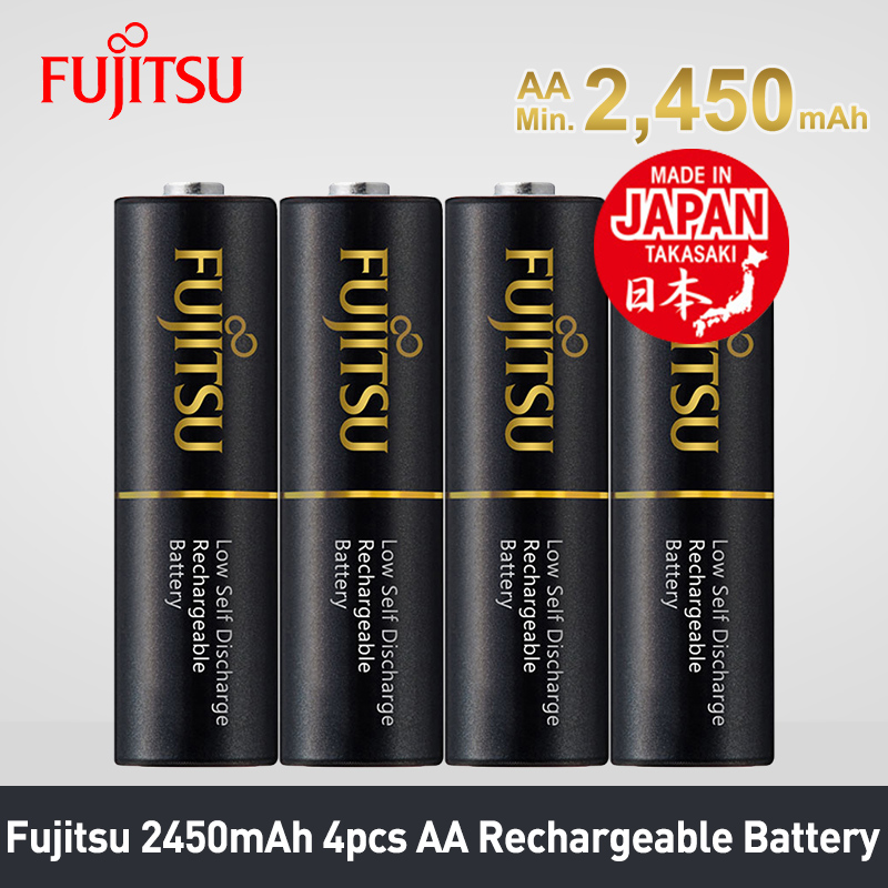 Fujitsu 4pcs/sets High Capacity 2450mAh AA Rechargeable Battery Low Self Discharge 1.2V NiMH Batteries Cycle Up To 500 Times
