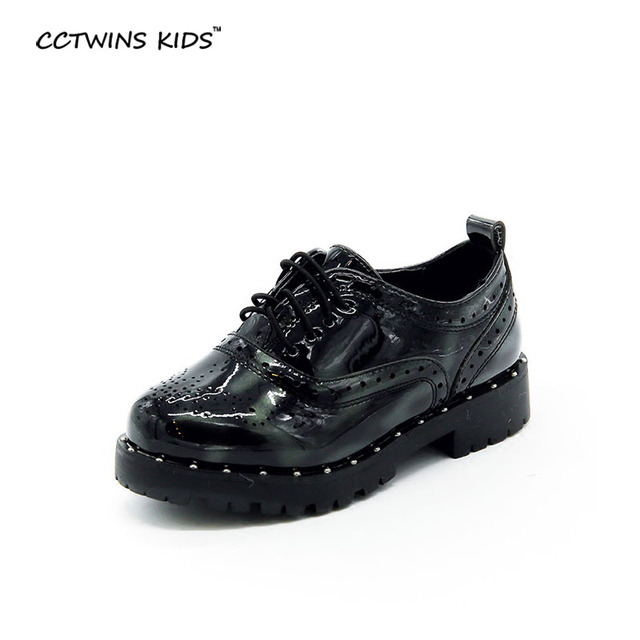 CCTWINS KIDS spring autumn boy fashion fashion oxfard shoe for children pu leather flats baby girl brand lace up kid gray loafer