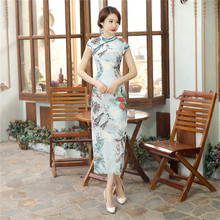 Summer New Chinese Women Cotton Linen Long Dress Lady Vintage Casual Qipao Novelty Printed Cheongsam S M L XL XXL XXXL C0048