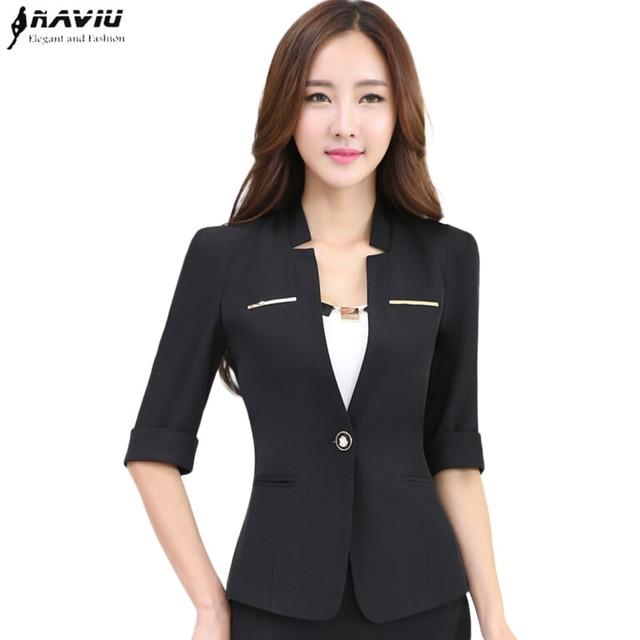 f76b5bf44 Mulheres profissionais blazer meia manga escritório OL moda terno jaqueta  plus size desgaste do trabalho conjunto