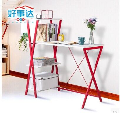 Students creative desktop computer desk 100 cm modern red + white desk bookcase conjoined combination