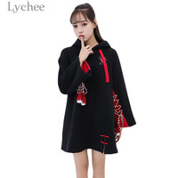 Lychee Harajuku Ghost Mask Japanese Embroidery Lace Up Dress Hooded Long Sleeve Fleece Dresses Casual Loose Female Dress