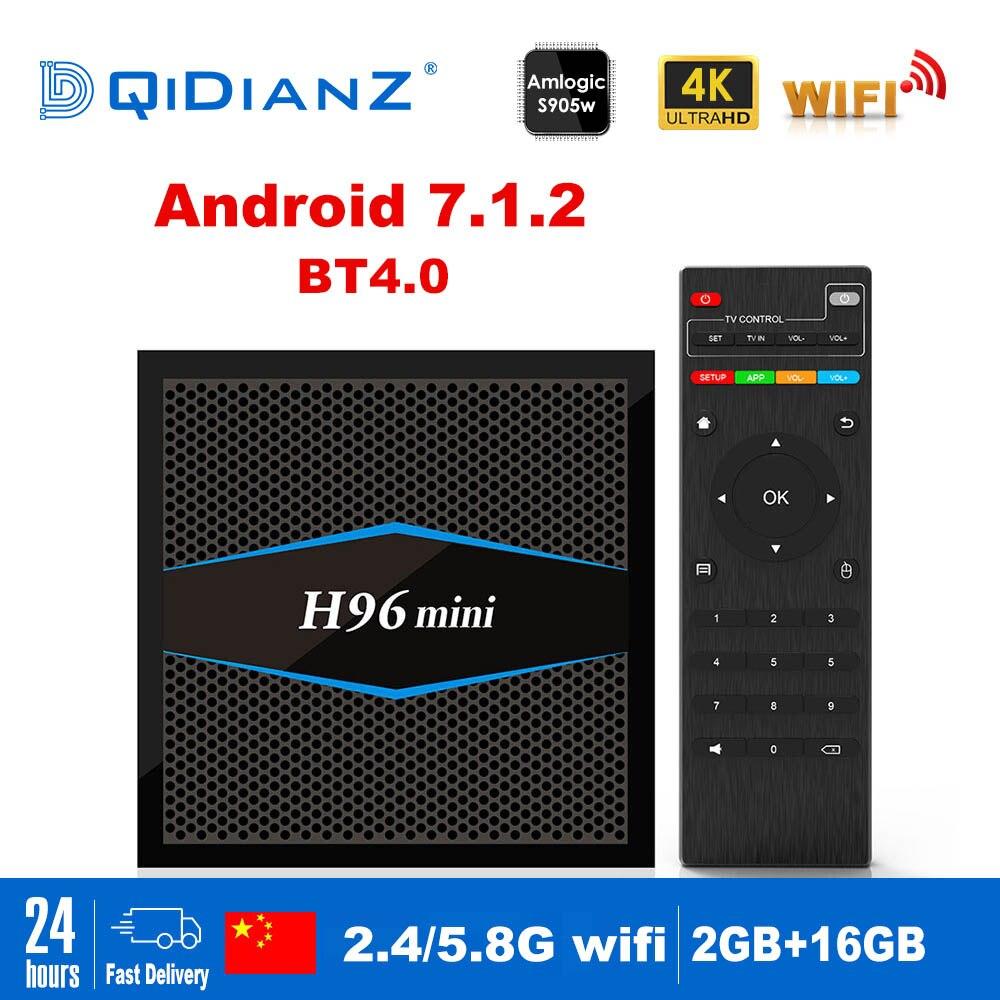 H96mini Smart tv box Android 7 1 2 4G 5G Wifi Bluetooth 4 0 S905W Quad
