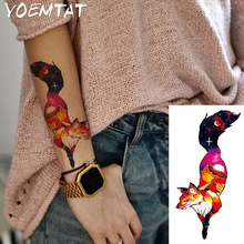 1PC Fantasy Farge Fox Hot Black White Stor Blomst Henna Midlertidig Tattoo Svart Mehndi Style Vanntett Tattoo Sticker