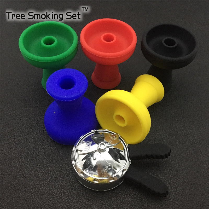 Ashtray And Black Charcoal Racks With Two Handles +Silicone cigarette Bowl Set Into Hookah Narguile Accessories