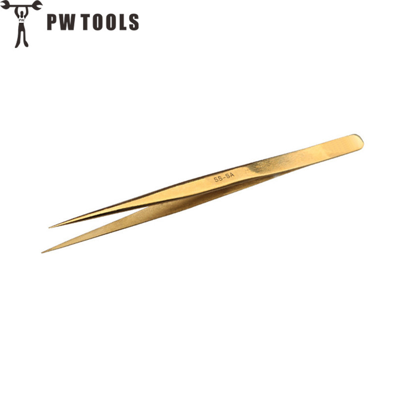 PW TOOLS New Stainless Steel Industrial Tweezers Plating Anti-static Forceps Watchmaker Repair Tools Excellent Quality Pliers