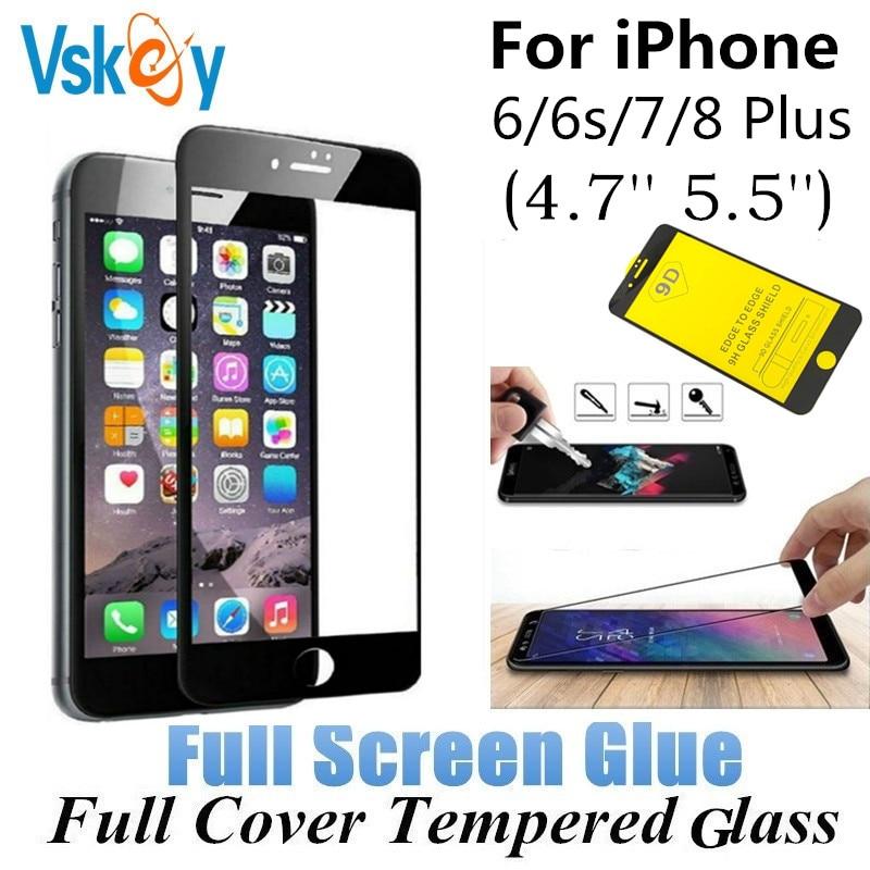VSKEY 10PC Fullständigt lim härdat glas för iPhone 6 6s 7 8 Plus - Reservdelar och tillbehör för mobiltelefoner