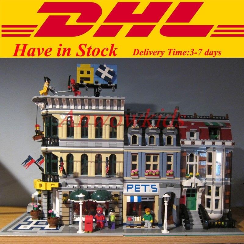 ФОТО 2 Kit City Town Street LEPIN 15005 Grand Emporium 15009 Pet Shop Building Block Bricks Kits Set Clone 10185