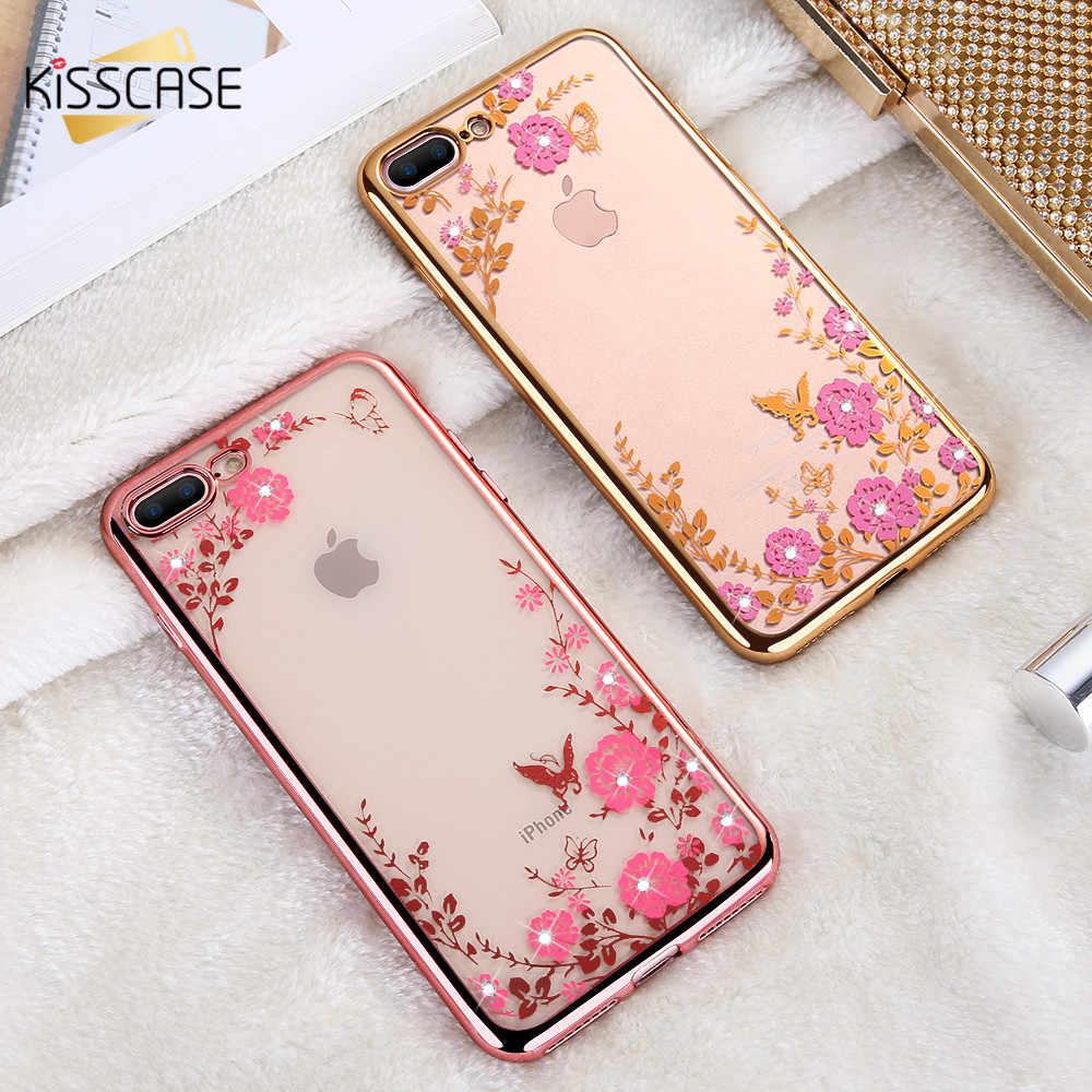 Kisscase floral modelado caso para iphone 7 6s 8 plus xs max xr x litter bling feminino casos de telefone para iphone 11 pro max 5S