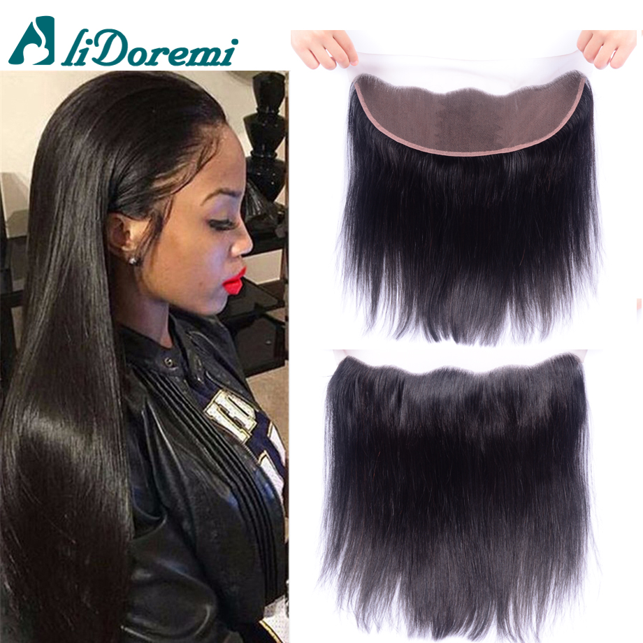 Brazilian Lace Frontal Closure Straight With Baby Hair Bleached Knots Virgin Human Hair Full Frontal Lace Closure 13×4 on sale