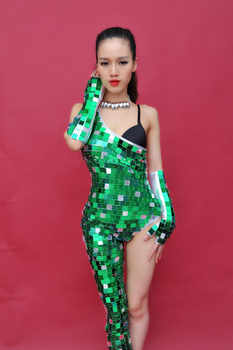 sexy stage bodysuit costumes female DJ nightclub singer dancer bar party performance costumes atmosphere of luxury Sexy jumpsuit