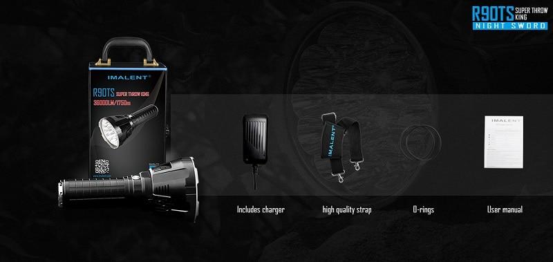 IMALENT R90TS Big Flashlight High Power LED CREE XHP70 36000 Lumens Long Throw Flash light 21700 Battery Intelligent Charging - 2