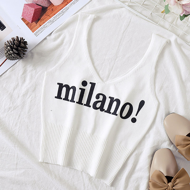 HELIAR Tops Women Knitted Sexy Crop Tops V Neck Lettering milano Camis Lady Slim Night Club